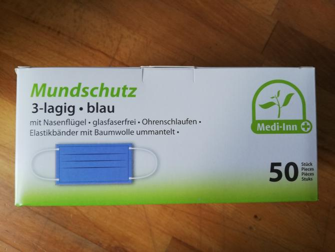 MEDI-INN Mundschutz 3-lagig  mit Elastikbändern 50 Stück